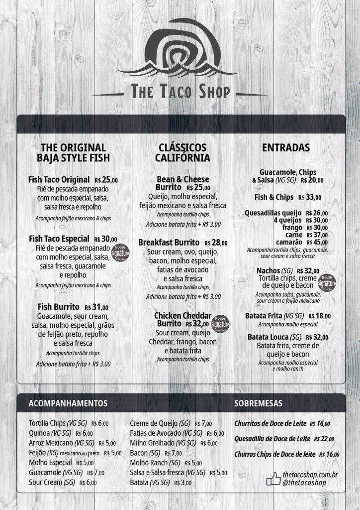 cardápio The Taco Shop